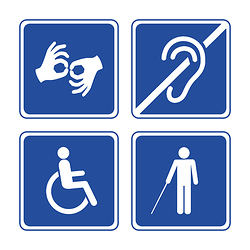 Symbols for mute, d/Deaf, wheelchair, blind access